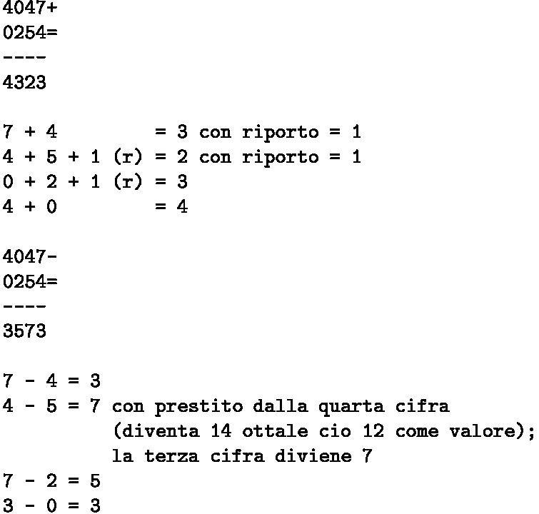 Sistema binario sottrazioni
